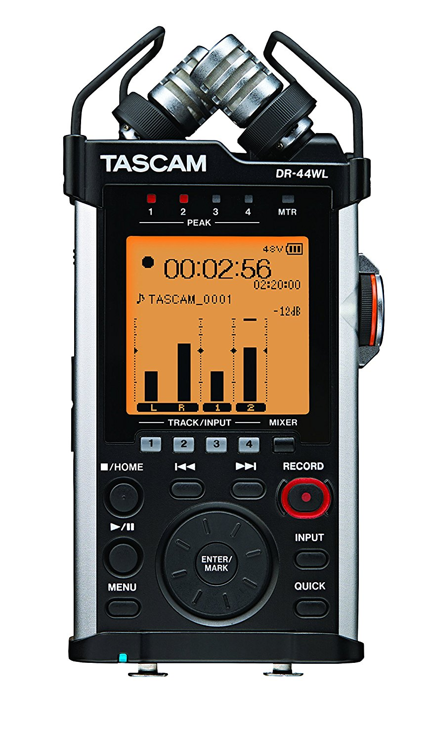 TASCAM Portable Handheld Recorder with XLR and Wi-Fi, 4 Channels, 4 AA Batteries, 2.5W Power Consumption, Black (DR-44WL)