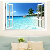 Large Removable Beach Sea 3D Window View Scenery Wall Sticker Decor Decals