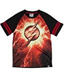 Justice League DC Comics Boy's Black & Red T Tee Shirt Lightning Logo (Extra Large 14/16)