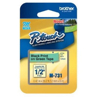 Brother M731 Black On Green - Roll (0.47 In X 26.2 Ft) 1 Roll(s) Non-laminated Tape - For P-touch Pt-100  Pt-110  Pt-45  Pt-55  Pt-65  Pt-70  Pt-75  Pt-80  Pt-8