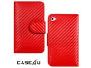 [CASE4U] iPod Touch-4 Leather Case- Red (Carbon Fiber)  Wrap