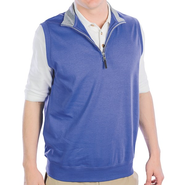 Fairway And Greene Luxury Interlock 1/4 Zip Vest W/ Contrast Collar (for Men)