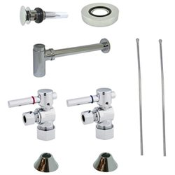 Kingston Brass Cc53301dlvokb30 Comtemporary Plumbing Sink Trim Kit With P Trap For Vessel Sink With Overflow Chrome