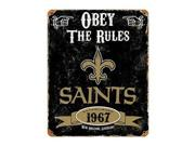 """Party Animal Saints Vintage Metal Sign - 1 Each - Obey The Rules Print/message - 11.5"""" Width X 14.5"""" Height - Rectangular Shape - Heavy Duty, Embossed Lettering"""