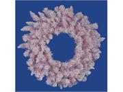 36 Flocked Cupcake Pink Artificial Spruce Christmas Wreath - Unlit
