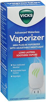 Vicks Advanced Soothing Vapors Mini Waterless Vaporizer With Nightlight, V1750, Pack of 2