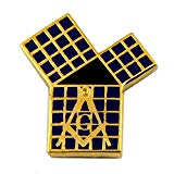 Masonic Euclid's 47th Problem Pythagorean Theorem with Grid Black & Gold Lapel Pin - 3/4