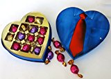 Valentine's Heart, Godiva Chocolate, Large Blue Shirt Design with Red Tie, Assorted Light, Dark and Caramel Chocolate Truffle, Great gift for Dad, Grandfather and Husband