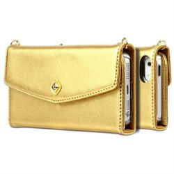 Zenus Apple iPhone 5S 5 L Diary Wallet Case Cover [Gold] High End Synthetic Leather Carrying Case