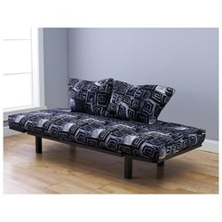 Hennepin Contemporary Daybed Futon Lounger with Black Metal Steel Frame, Includes Two Pillows, Twilight Mosaic