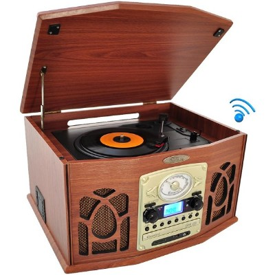 Pyle Ptcds7ubtbw Bluetooth Retro Vintage Classic Style Turntable Vinyl Record Player With Vinyl-to-mp3 Recording - Brown