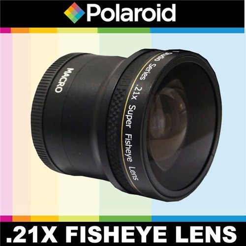 Polaroid Studio Series .21x Super Fisheye Lens With Macro Attachment, Includes Lens Pouch and Cap Covers For Olympus PEN E-P2, PEN E-PL1, E-PL2 Digital SLR Cameras Which Have 17mm f/2.8 Lens