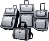US Traveler New Yorker 4 Piece Luggage Set Expandable,Charcoal,One Size