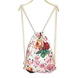 Greenery Women Girl's Casual Vintage Lightweight Canvas Backpack Minority Style Travel Bag School College Shoulder Bag with Drawstring Closure (Flowers)