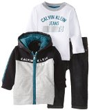 Calvin Klein Baby-Boys Infant Hoody With White Tee And Jeans, Gray, 18 Months