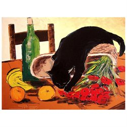 Return from market with black cat - Extra Large 30 X 40