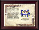 Paulon Coat of Arms/ Family Crest on Fine Paper and Family History