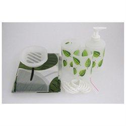 6-Piece Bathroom Accessory Set - Stylish Plastic Green Leaves
