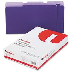Colored File Folders, 1/3 Cut, One-Ply Top Tab, Legal, Violet/Lt Violet, 100/Box