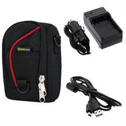EveCase Camera Pouch Nylon Case   Li-40b / Li-42B Battery Charger with Car Adapter   CB-USB6 Cable for Olympus TG-320 TG-310 X-560WP, Stylus Tough 3000, Stylus 5010 7000 710 750 850 SW 7030 7040