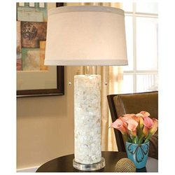 Regina Andrew 505-131 Design Contemporary Mother of Pearl Column Table Lamps on Lucite Base