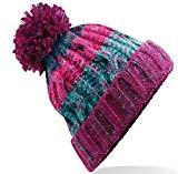 Beechfield Unisex Adults Corkscrew Knitted Pom Pom Beanie Hat (One Size) (Winter Berries)