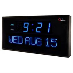 DBTech Big Digital Blue LED Calendar Clock with Day & Date (22 - Blue LED)