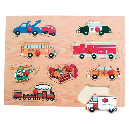 Puzzled Peg Puzzle Large - Transportation 2 Wooden Toys