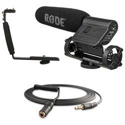 Rode VideoMic, Polaroid Shoe Bracket, VC1 10ft Stereo Mini Extension Cable Kit