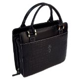 Classic Croc Purse-Style Bible / Book Cover w/Cross (Large, Black)