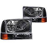 Anzo USA 111080 Ford Black with Corner Amber Headlight Assembly - (Sold in Pairs)