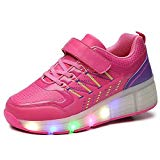 SDSPEED Kids Roller Skate Shoes with Single Wheel Shoes Sport Sneaker LED and Non-LED
