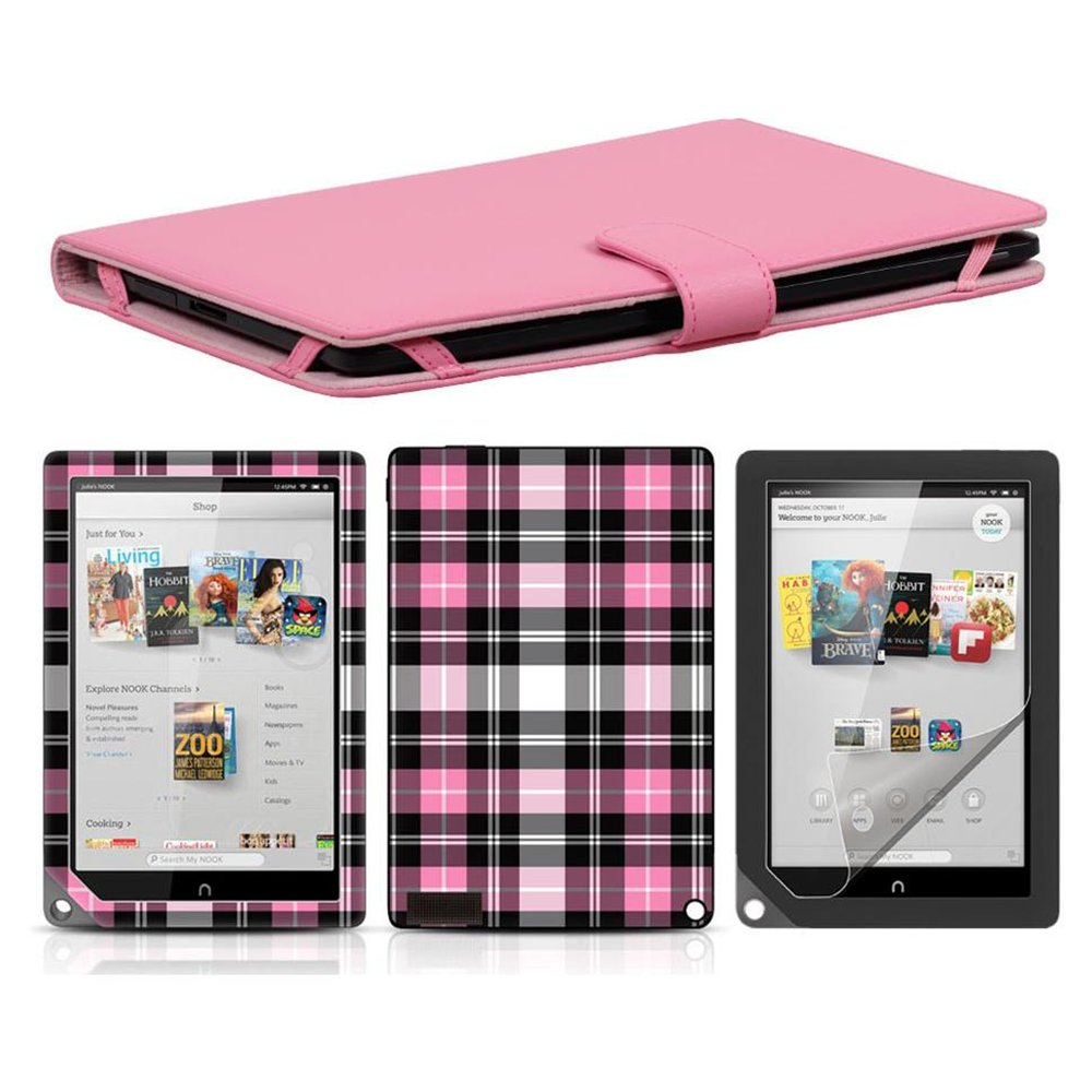 Bundle Monster Synthetic Leather Cover Skin Screen Protector-Nook HD  Combo PD20
