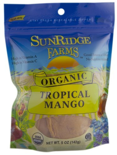 Sunridge Farms Organic Tropical Mango Slices, 5-Ounce Bags (Pack of 6)
