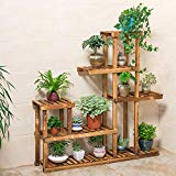 Wooden Plant Stand, Flower Shelf Holder 5 Tier Storage Rack Shelving Unit - Pot Shelves Bonsai Display Storage Rack Outdoor Indoor Garden Patio for Multiple Plants 37.4x9.84x37.79 Inches