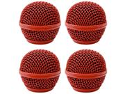 Seismic Audio - Sa-m30grille-red-4pack - 4 Pack Of Replacement Red Steel Mesh Microphone Grill Heads - Compatible With Sa-m30, Shure Sm58, Shure Sv100 And Simil