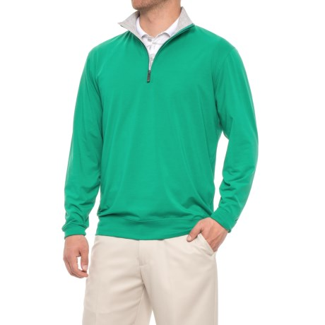 Solid Liquid Cotton Pullover Shirt - Zip Neck, Long Sleeve (for Men)