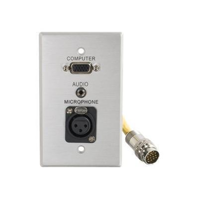 RapidRun Single Gang Integrated HD15   3.5mm   XLR Wall Plate - wall plate - VGA / audio