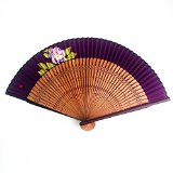 Made in Japan Hana Sensu Folding fan (Name and a single flower are drawn by hand on a fan) Rose in Muted Purple/with your name in Hiragana