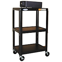 Constructed from heavy gauge steel with durable powder coat finish, it comes with 4 easy glide casters and a ribbed rubber mat top shelf and is perfect for holding and transporting TVs, computers, projectors and more
