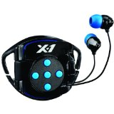 X-1 (Powered by H2O Audio) INT4-BK-X Interval 4G Waterproof Headphone System for iPod Shuffle (Black/Blue)