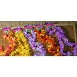 12 Hawaiian Ruffled Simulated Silk Flower Leis (1 Doz)