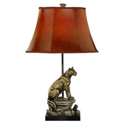 Mountain Lion Table Lamp in Antique Bronze