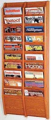 Cascade 20 Pocket Magazine Wall Rack - Medium Oak Finish - by Wooden Mallet - MR48-20MO
