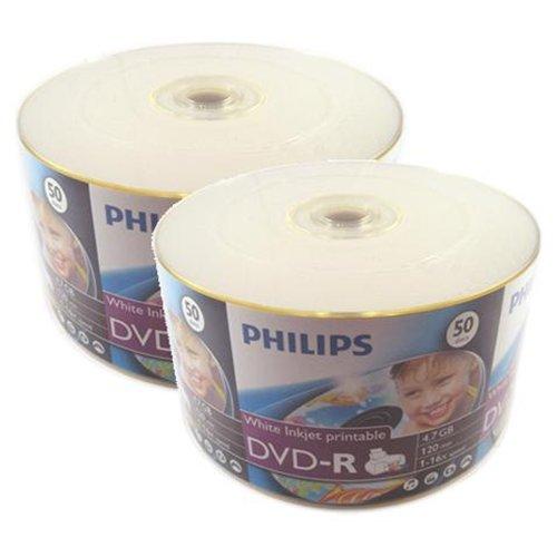 DVD-R 16x Philips White inkjet Hub Printable Full Face Media (600pcs)