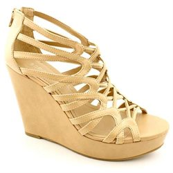 BCBGeneration Jara Womens Beige Open Toe Leather Wedges Heels Shoes UK 5