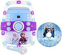 The Sakar International Inc 65827 Frozen Karaoke Machine with Flashing Lights is easy to use and allows your kids to sing along with their favorite music