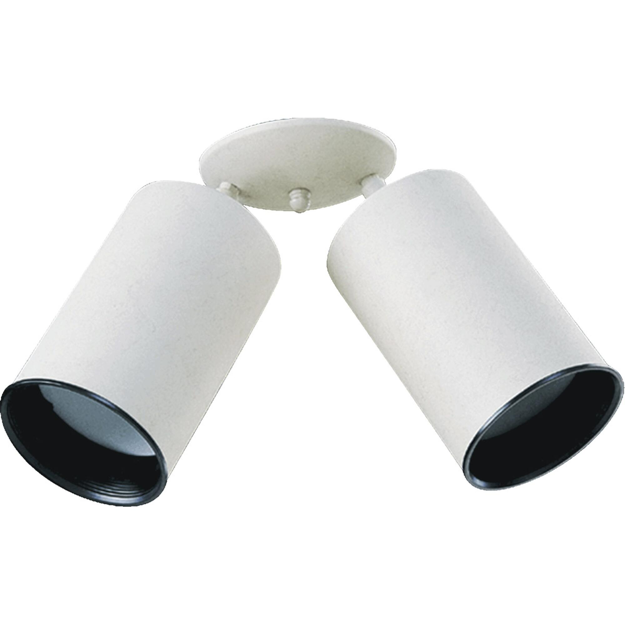 2-Light Cylinder Bullet Directional Spot Light Fully Adjustable White Steel Can Lamp with Black Metal Baffle