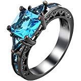 XAHH Women Black Gold Plated Square Blue Aquamarine Cubic Zirconia Vintage Engagement Wedding Ring Size 5-11 Size 8