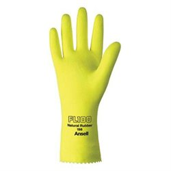 Ansell Size 7 Fl100 Lemon Yellow Unsupported 17 Mil Natural Latex Cotton Floc...